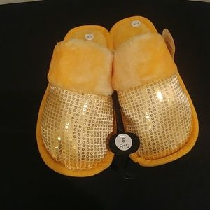 Shoes - 2/$10 NWT! Ladies Sequin Plush Yellow Slippers